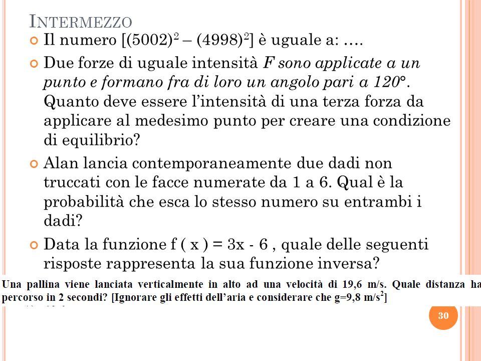 Intermezzo Il numero [(5002)2 – (4998)2] è uguale a: ….